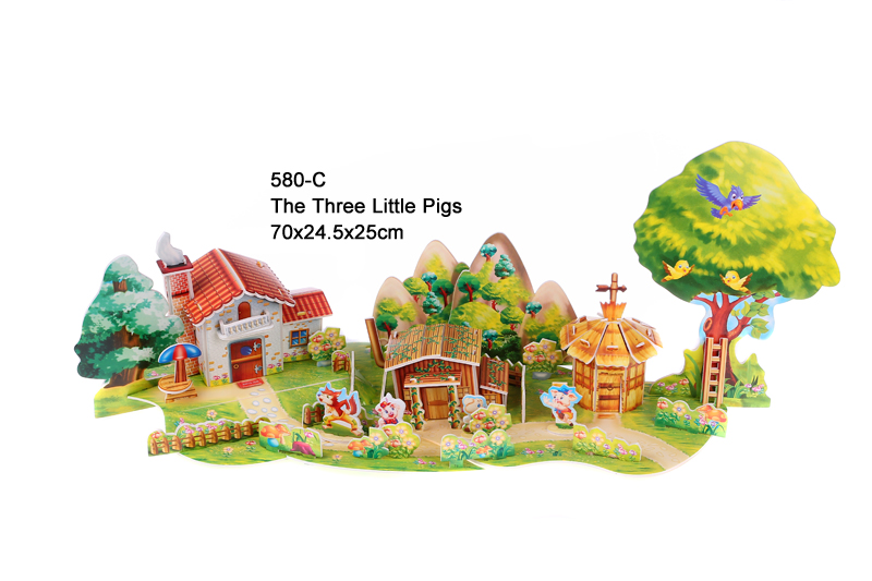 Free shipping the three little pigs 3d puzzle child for 3 d lighted christmas pig holiday outdoor decoration