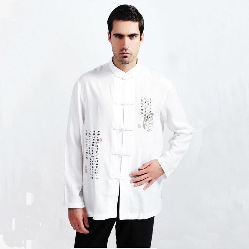 White Chinese National Men Kung Fu Shirt Male Long Sleeve Tai Chi Shirt Top Casual Hombres Camisa M L XL XXL XXXL MS092Одежда и ак�е��уары<br><br><br>Aliexpress