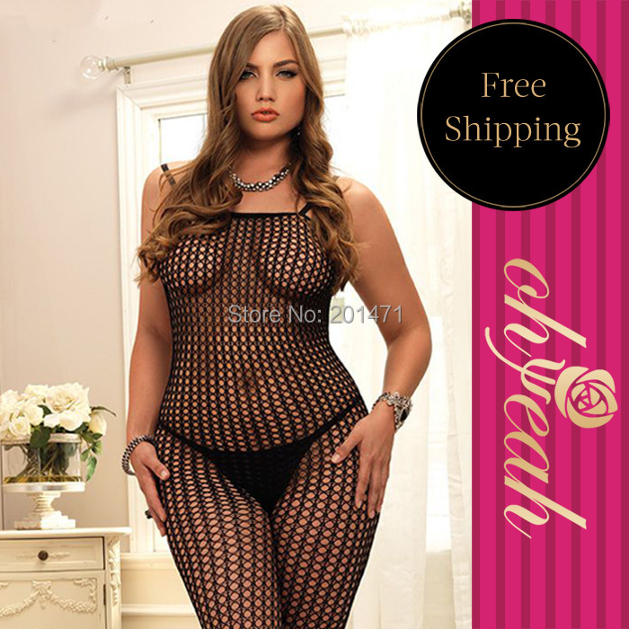 H3016P Free Shipping fishnet hot sexy plus size bodystocking see through sexy lingerie hot open crotch brand new bodystocking(China (Mainland))