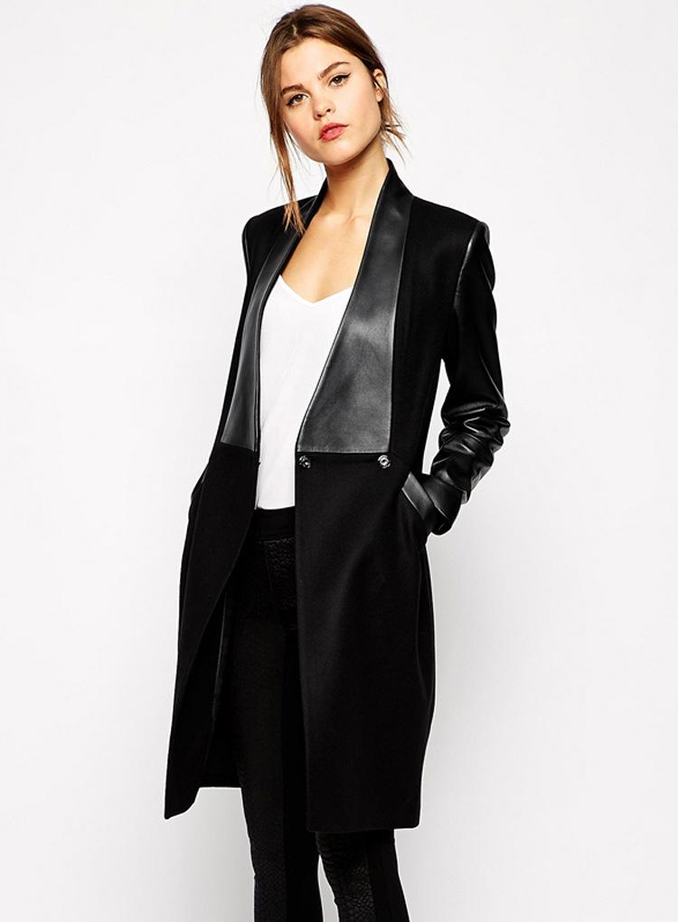 Women's PU leather stitching Slim woolen coat Girls Long Jacket Leather Jacket Women Winter Jacket Women