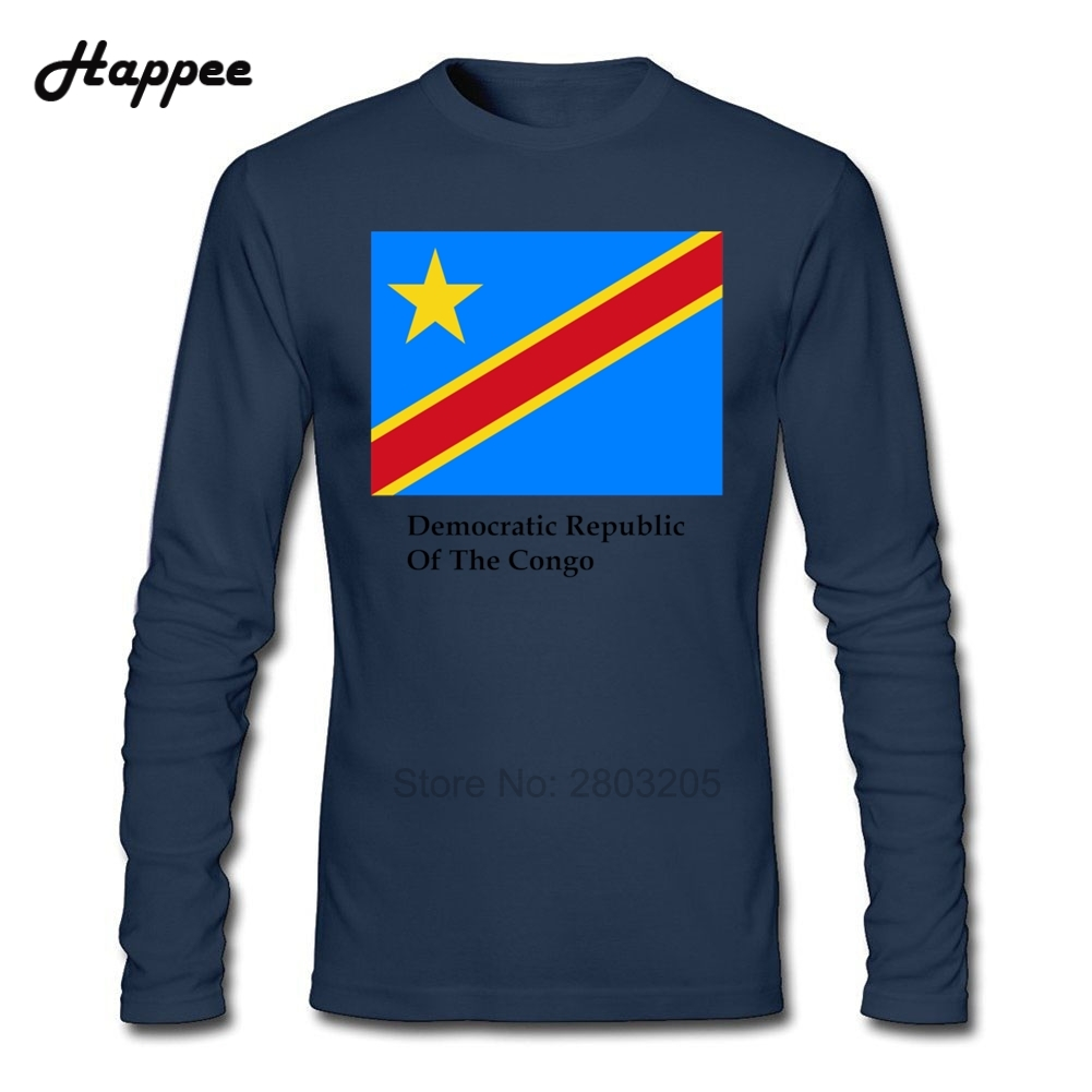 Democratic Republic Of The Congo Flag And Name T Shirt Men S-XXL O Neck Long Sleeve T-Shirts Male Clothes Funny Shirt Cheap Tops(China (Mainland))