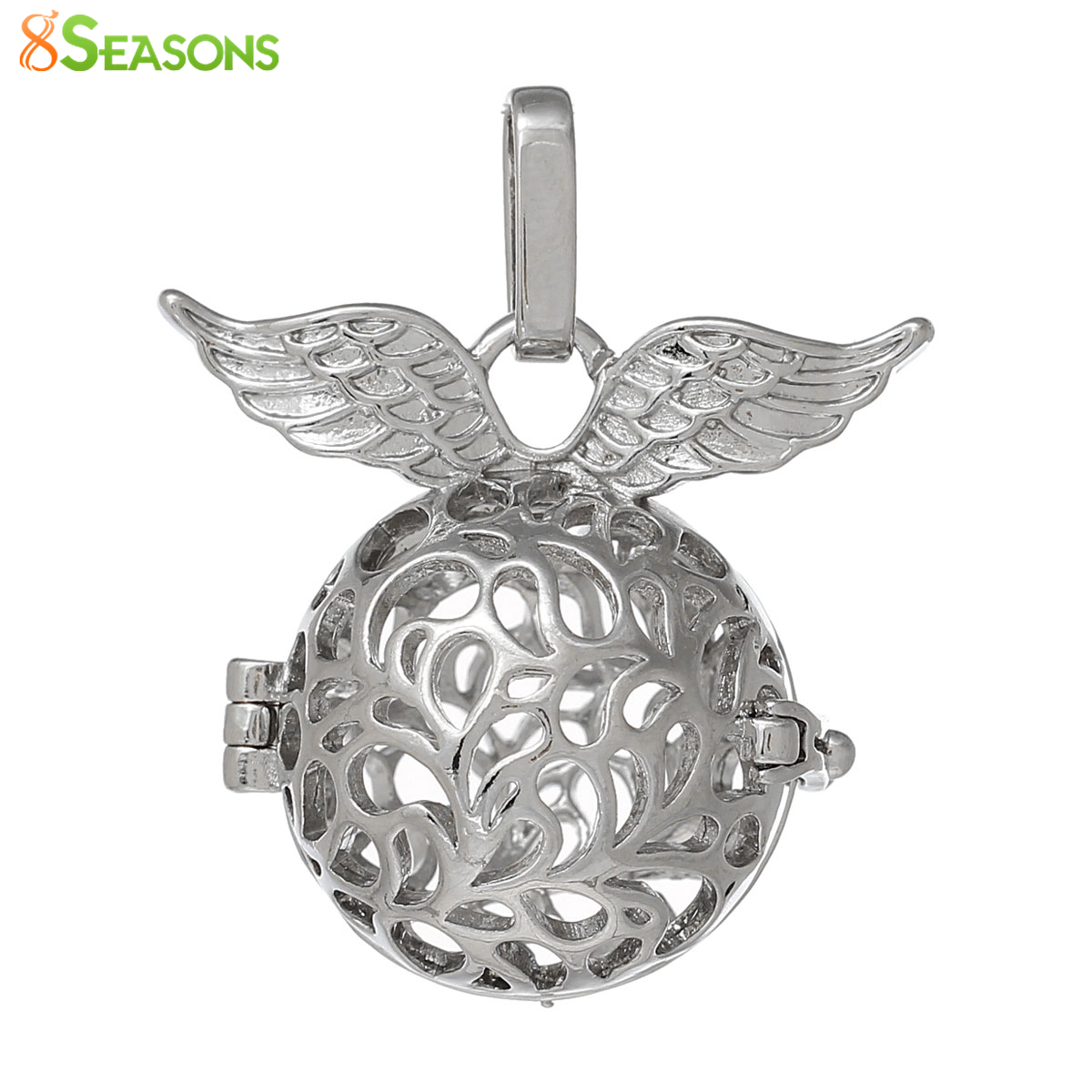 Copper Ball Wish Box Pendants Round Silver Tone Wing Craved Hollow Can Open(Fit Bead Size: 16mm)34mm x 29mm ,1 PC 2016 new(China (Mainland))