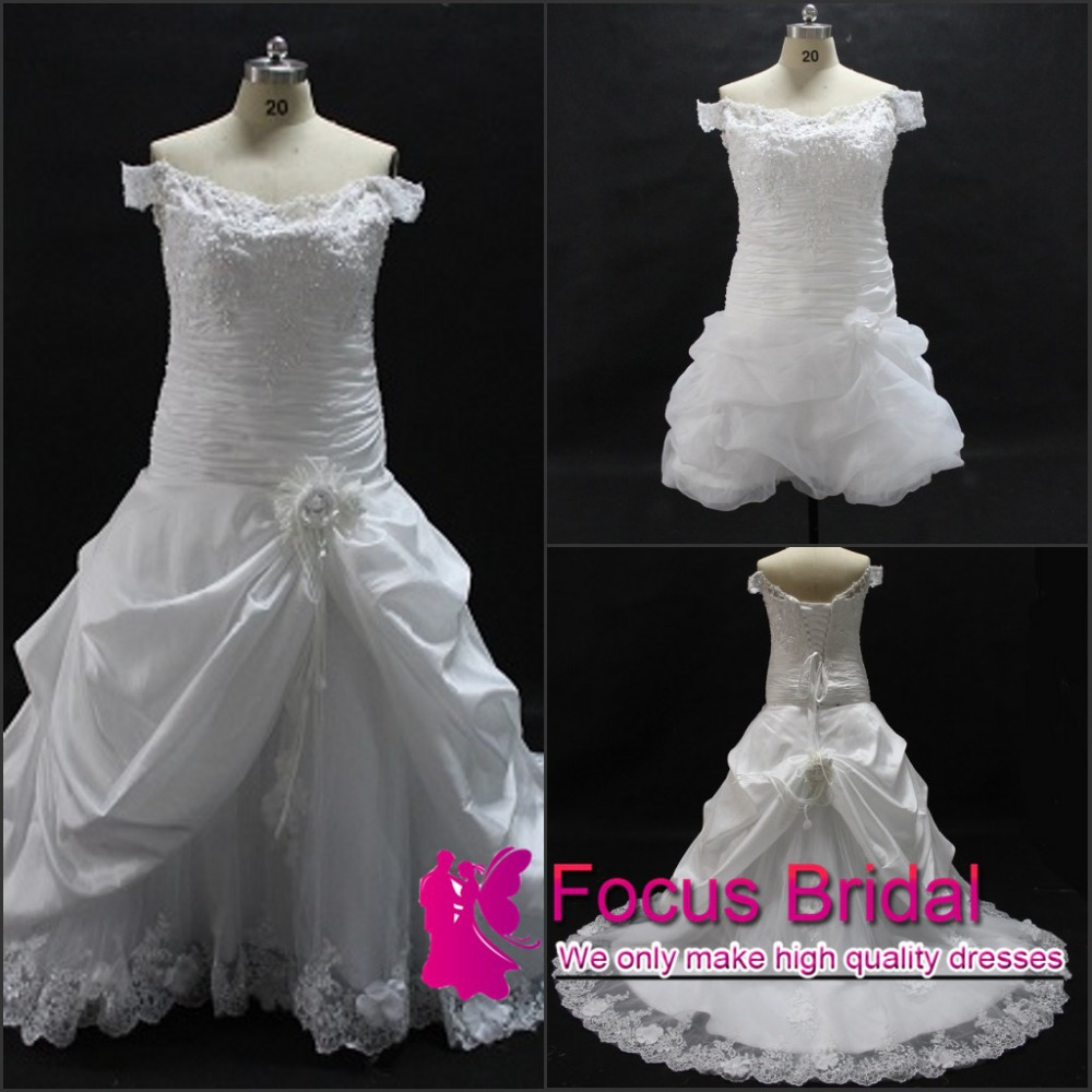 Buy plus size wedding dress real picture for Lace top plus size wedding dress