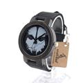 BOBOBIRD Ebony Black Wood Men s Watch With Skeleton Logo Luxury Brand Quartz Watch With Real