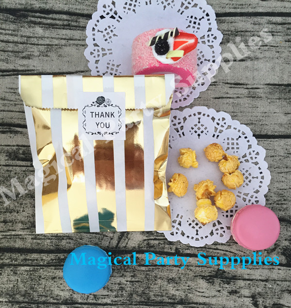 Free Shipping 1000pcs Gold Foil Paper Favor Bags and Sticker Stripe Gold Foil Paper treat Bags Wedding Birthday Party Gift Bags(China (Mainland))