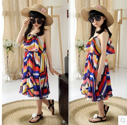 2015 New Design Summer Clothing Style Holiday Teenage Girls Multicolor Beach Dress Female Kids