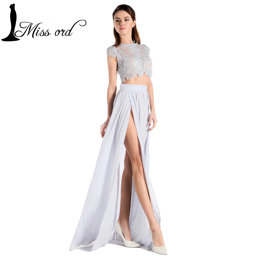 Free shipping Missord 2016 Sexy round neck short sleeve two-pcs Lace stitching split dress FT5069Одежда и ак�е��уары<br><br><br>Aliexpress
