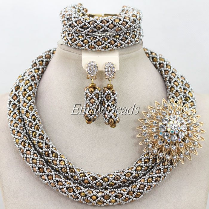 Silver Sand Beads Plated Statement Necklace Set Costume Nigerian Wedding African Crystal Beads Jewelry Set Free Shipping AIJ664<br><br>Aliexpress