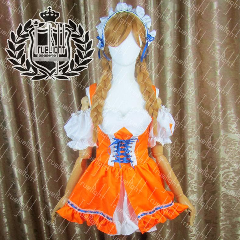 Mirai Millennium Universe Mirai Suenaga Orange Maid Customer Made Size Uniforms Cosplay Dress Free Shipping + Stockings(China (Mainland))