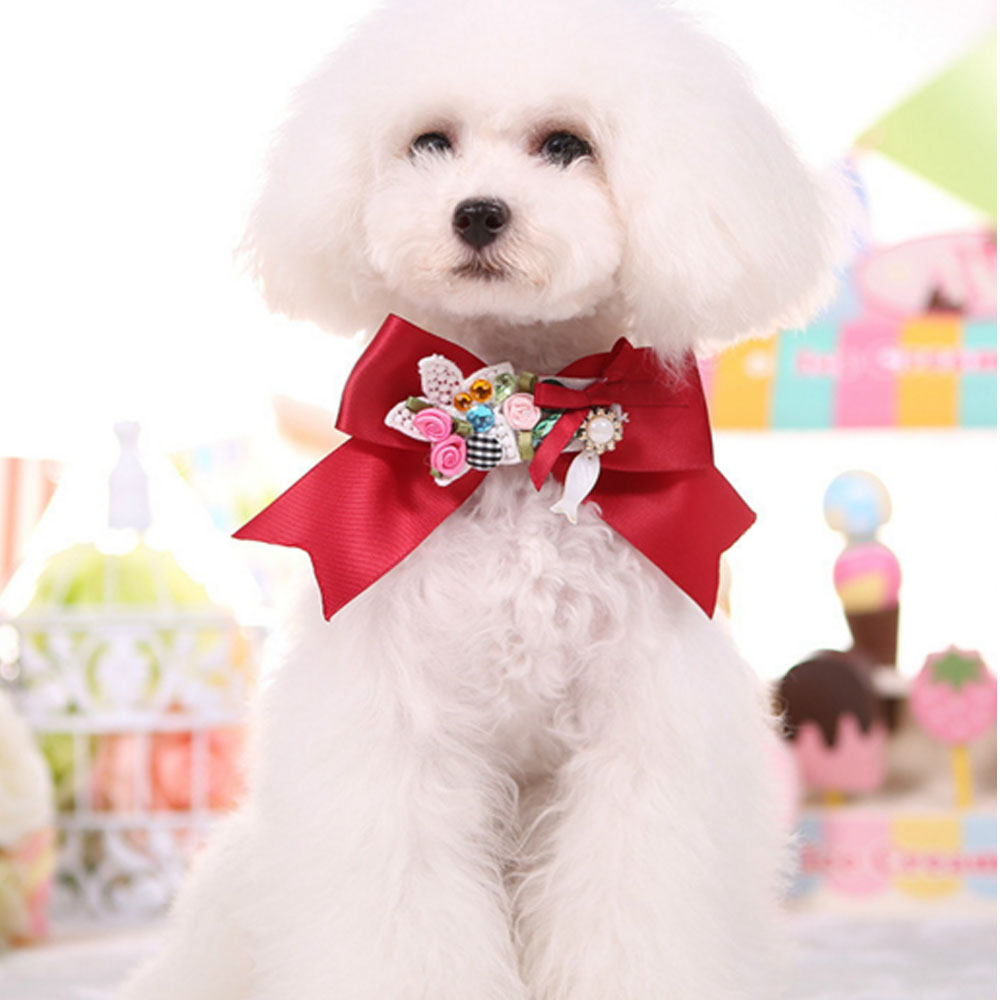 Pet Shop Online Cute Puppy Dog Accessories Honden Halsband Satin Bow Tie Rose Hand-Made Fashion Dogs Collars Royal Dogs Collar(China (Mainland))