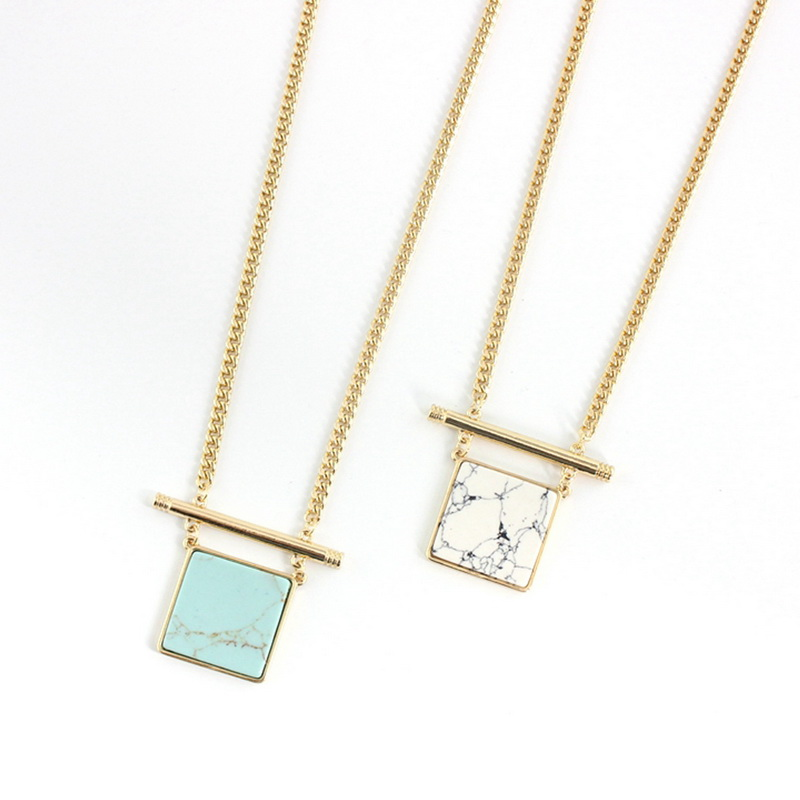 Geometric Square Howlite & Turquoise Pendant Necklace Gold Fashion Women Bijoux Store Hot Selling Natural stone Jewelry(China (Mainland))