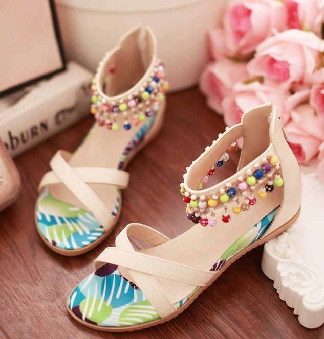 ENMAYER Beige, Blue Size 34-39 Fashion Lady Girls Summer Flat Shoes Sweaty Womens Flats Designer Sandals With Beading Sandals<br><br>Aliexpress