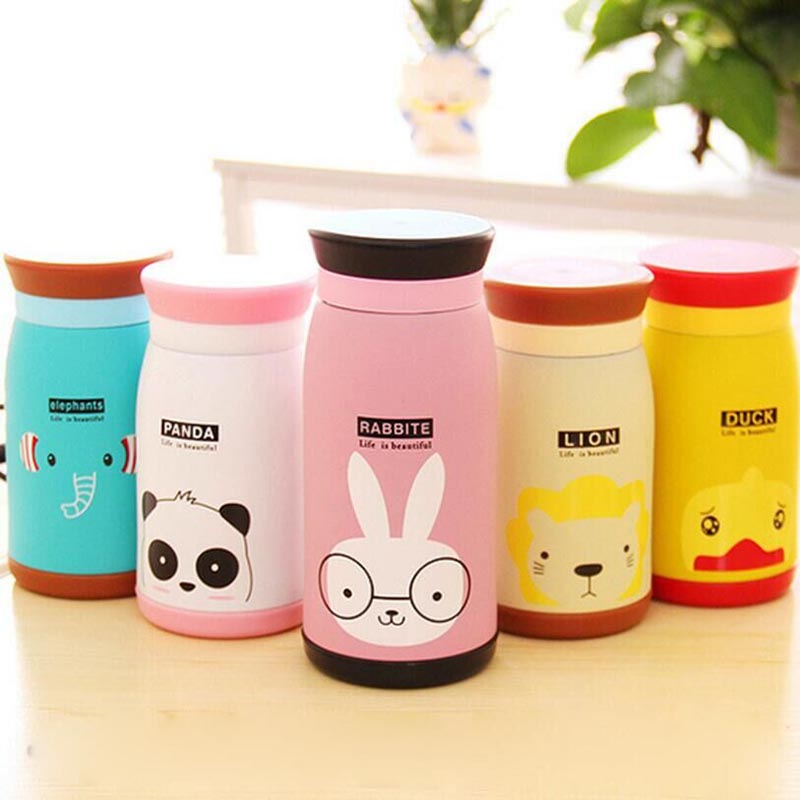 Home Kitchen Cartoon Insulated Thermos Cup Coffee Mug Travel Drink Bottle Cute Animal Vacuum Flasks Thermoses Stainless Steel(China (Mainland))