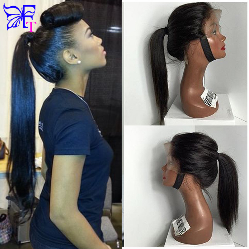 Фотография 7A Glueless Full lace Wigs For Black Women Silky Straight Full Lace Wig Brazilian Lace Front Human Hair Ponytail Wigs Fast Ship