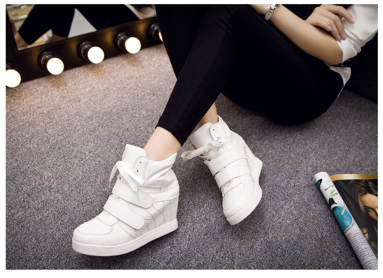 2015 Fashion Women Brand Stretch Lace-Up Casual Elevator Shoes Woman Walking Shoes Height Increasing Flats Shoes Chaussure Femme<br><br>Aliexpress