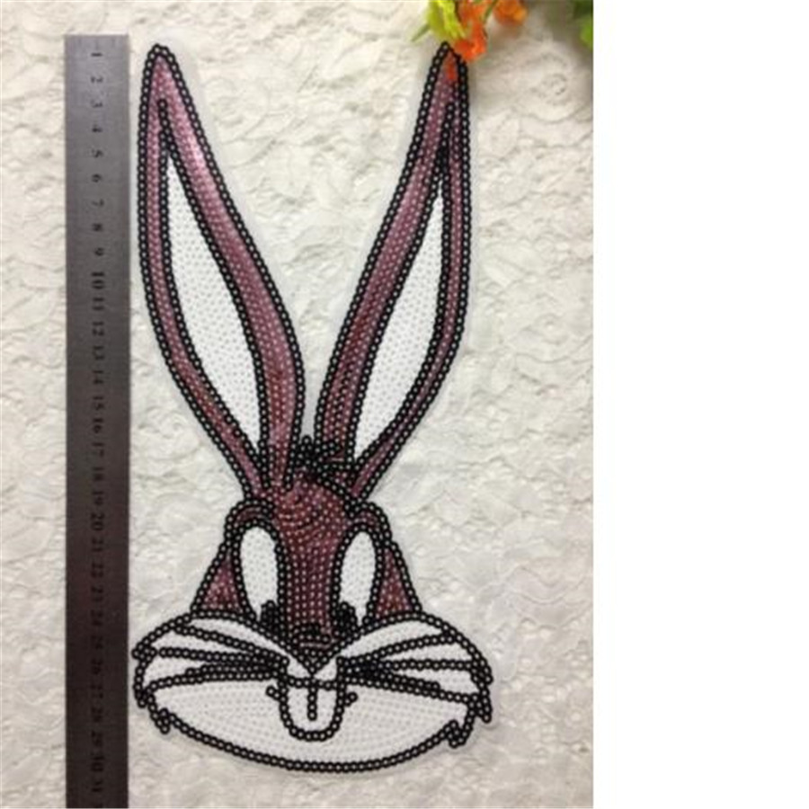 Clothes patch Apparel Sewing & Fabric Cute Bunny Pink logo, Cartoon sequins iron on patches for clothing home DIY free shipping(China (Mainland))