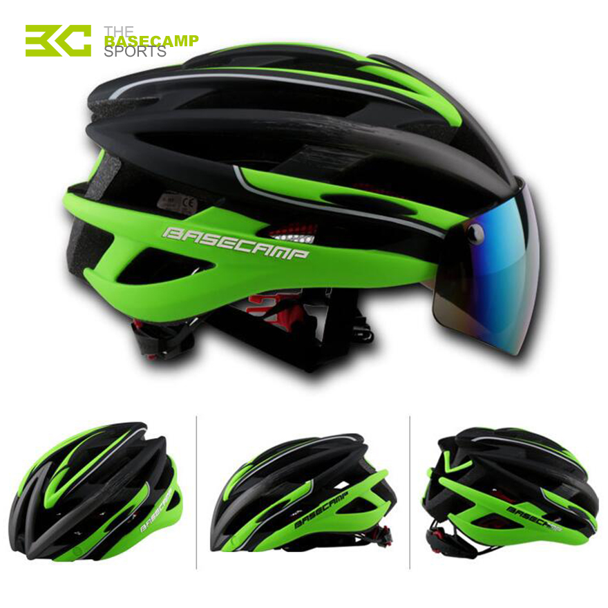 Basecamp Unisex Cycling Helmet With Glasses Goggles MTB Road Bicycle Bike Helmet Breathable Casco Ciclismo Head Protector+3 Lens(China (Mainland))