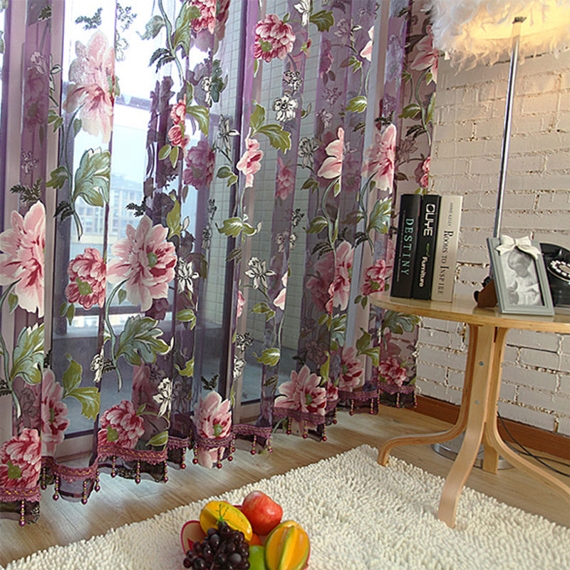 Aliexpress.com : Buy Beige Purple Tulle for Window Luxury Sheer ...