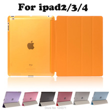 For apple ipad 2 3 4 9.7inch Case Magnetic Flip Leather case For new ipad3 ipad4 PU Smart Stand Holder Cover +free SCreen Film(China (Mainland))
