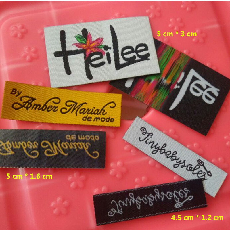 Custom damask polyester cloth hot iron on label toy/sock/handicraft Straight cut floral tags(China (Mainland))