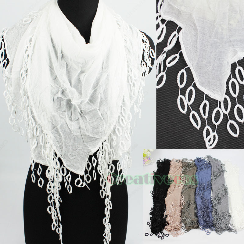 Elegant Fashion Stylish Women Girl's Dot Lace Trim Tassel Solid Color Soft Triangle Scarf Shawl Wrap New(China (Mainland))