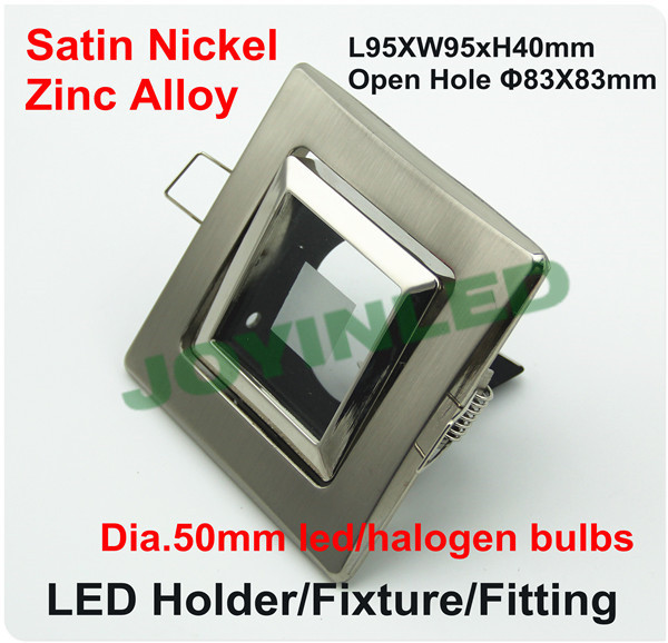 Zinc alloy lighting fixture Square dia.50mm GU5.3/MR16/GU10 LED halogen bulb holder satin nickel color glass lens free shipping <br><br>Aliexpress