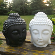 Home decoration Aroma oil burner ceramic Buddha head candle holders essential oil burner incense base Lavender Assuaging scent(China (Mainland))