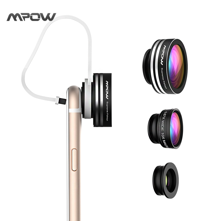 Super MFE1N Mpow 3 1 Fish Eye Lens 180 Degree Supreme Fisheye 0.67X Wide Angle 10X Macro Phone Lens Clip iOS Android