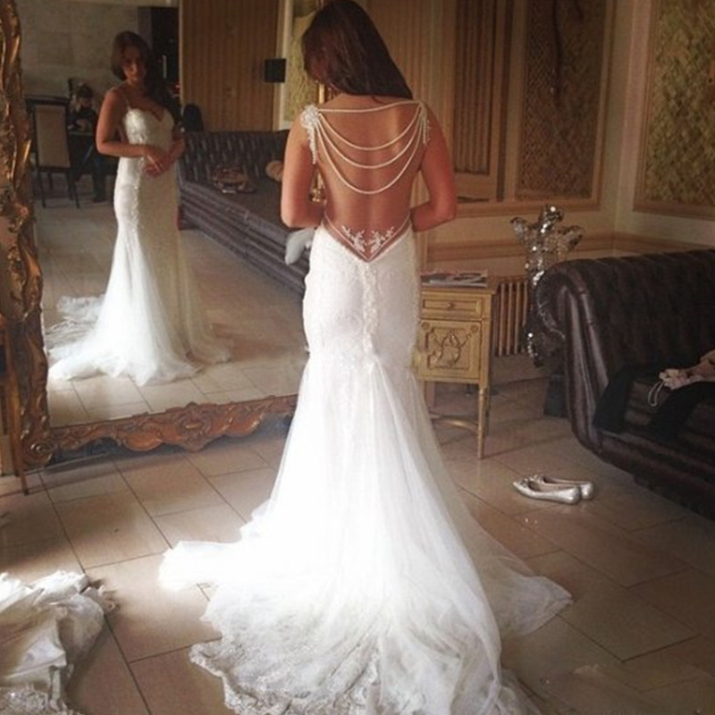 Sexy beach vintage wedding dresses 2016 backless beaded for Plus size bling wedding dresses
