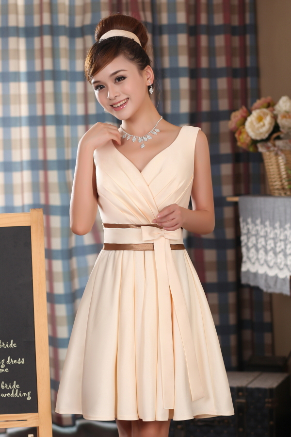 Fashion champagne color v neck bridesmaid dresses elegant for Plus size champagne colored wedding dresses
