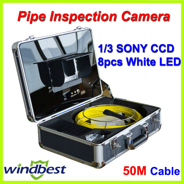 Freeshipping 50m cable 7'' TFT LCD Monitor CCTV Sewer Pipe Inspection Underwater SONY CCD Camera 8pcs LED lights Remote Control(China (Mainland))