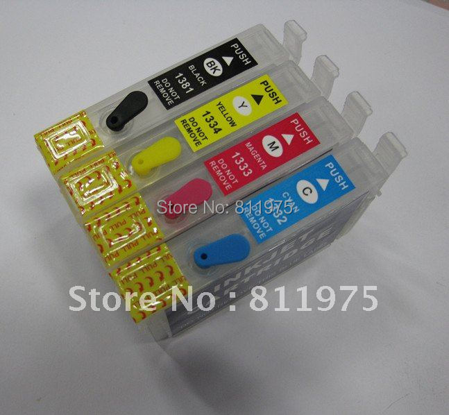 Free Shipping 135 T1351 +T1332 T1333 T1334  refillable ink cartridge for epson  Stylus T25 TX123 TX125 TX133 TX135<br><br>Aliexpress