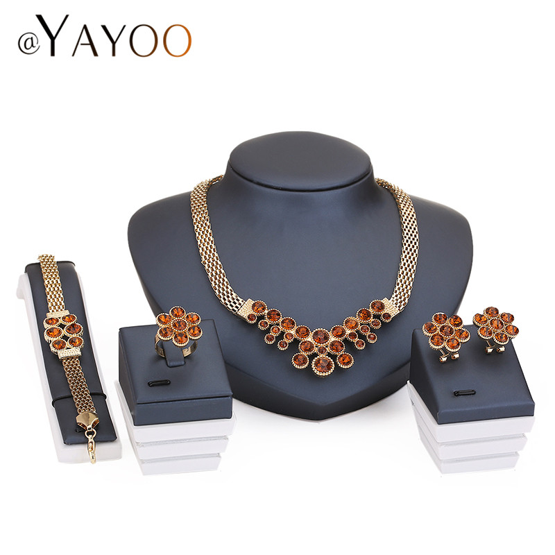 Wedding Bridal Crystal Jewelry Sets For Women Fashion Gold Plated Pendant Lady Rhinestone Costume Statement Necklace