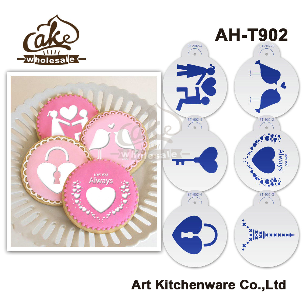 New 6pcs/set Wedding Cake Stencil Set.Decorating Stencil Coffee,Cupcake,Cookies Stencil Plastic Template Cake Decorating AH-T902(China (Mainland))