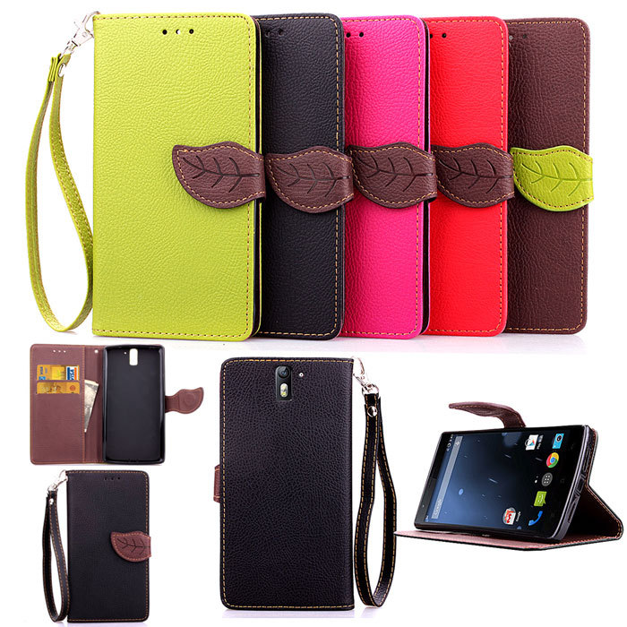1PCS Leather Skin Magnetic Flip Stand Cover Case For One Plus One Leaf Pouch Wallet Handbag + Lanyard Cell Phone Bags Cases(China (Mainland))