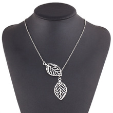 Korean fashion trend wild forest based metal leaf pendant necklace clavicle short section of double leaf