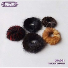 Wholesale Genuine Mink Fur Elastic Hair Bands Black Color Mink Fur Hair Elastic Free Shipping Fur Bracelets  Hair Accessories(China (Mainland))