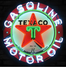 FS Neon Sign Texaco Gasoline Motors Real Glass Neon Light Sign Home Beer Bar Game Room Windows Garage Wall 24x24.Super Bright(China (Mainland))