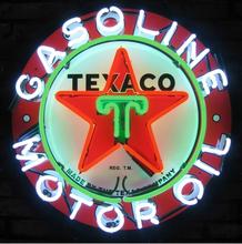 Fs neon sign texaco benzina motori reale vetro luce al neon  Casa beer bar game room finestre del garage parete 24x24. super  Luminoso(China (Mainland))