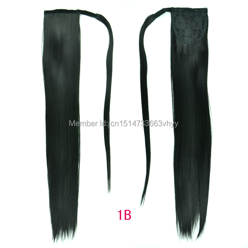 2015 DISCOUNTS 24inch Black Synthetic Long Straight Clip In Ribbon Ponytail Extension hairpiece brazilian my coda(China (Mainland))