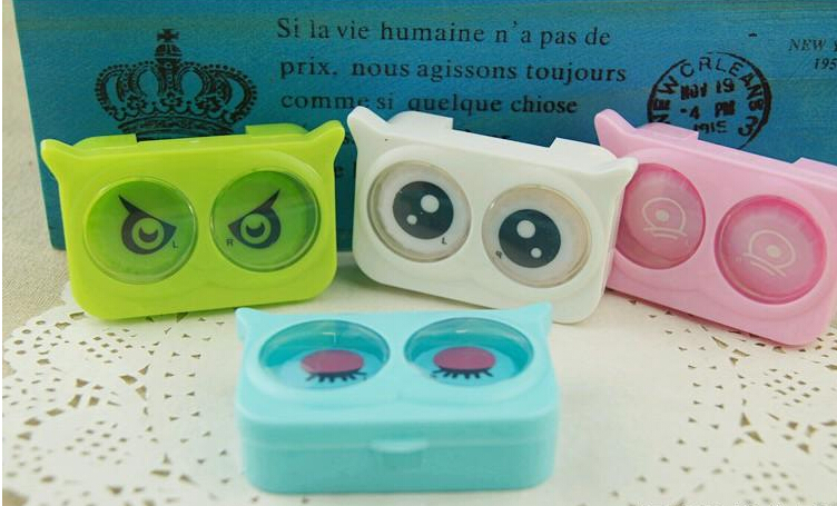 Free Shipping New kawaii Pocket Owl Mini Contact Lens Case Travel Kit Easy Carry Mirror Container #3202(China (Mainland))
