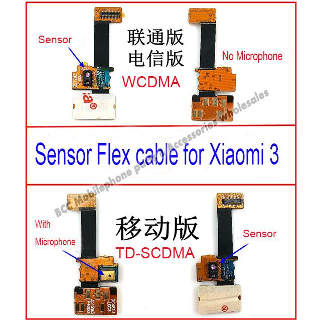 In stock !100% Original Sensor Proximity light distance earphone flex cable+Microphone for Xiaomi 3 Mi3 M3 TD-SCDMA+tracking No.(China (Mainland))