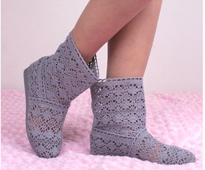 Free shipping transport during the spring and autumn the new single knitting hollow authentic crochet short boots<br><br>Aliexpress