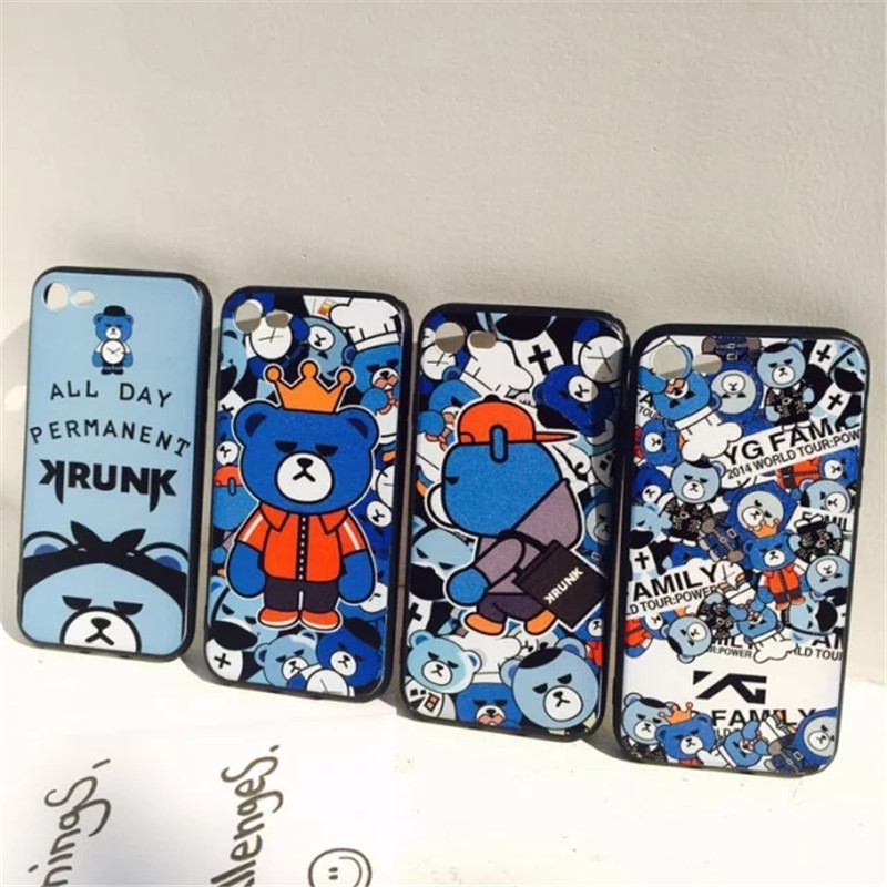 Korea GD Bigbang Krunk Bear day permanent Silicon TPU back Phone cases iphone 6 6s 7 fundas iphone 6 6 7 plus coque