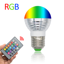 3W RGB LED Lamp E27 220V Spotlight Lampada LED Bulbs E14 85-265V Christmas Lanterna Bombillas LED Bulb E27 With Remote Control(China (Mainland))