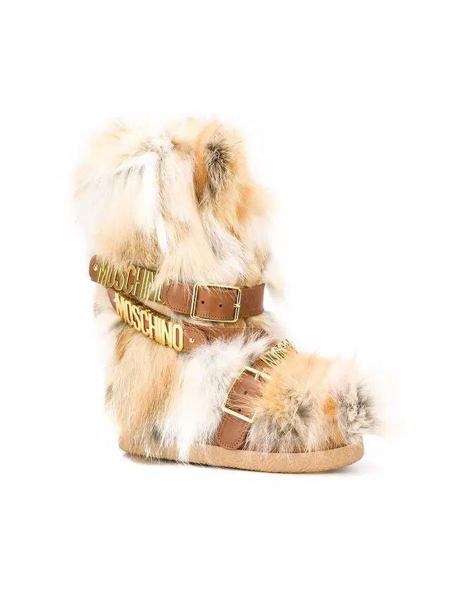 Fox fur metalic belt winter womens brown boots snow boot moon boots warm fur boots