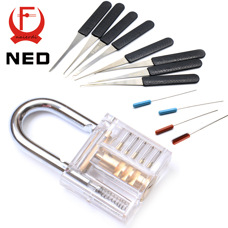 NED Mini Transparent Visible Pick Cutaway Practice Padlock Lock With Broken Key Removing Hooks Lock Extractor Set Locksmith Tool(China (Mainland))