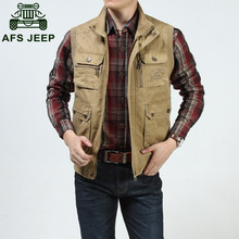 AFS JEEP Military casual brand 2016 Men's spring outdoor sport 100% cotton vests coats male vest reporter shoot camp jacket #627(China (Mainland))