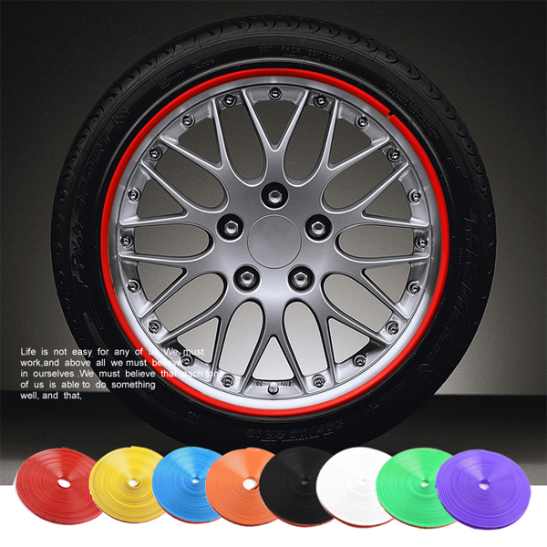 New 8 Meter/Roll Car Wheel Hub Tire Sticker Car Decorative Styling Strip Wheel/Rim/Tire Protection Care Covers Auto Accessories(China (Mainland))
