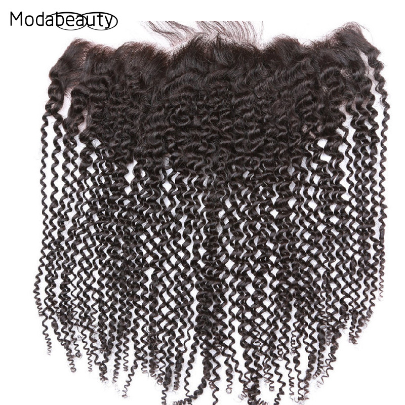 "Фотография Brazilian Virgin Hair Lace Frontal Closure13x4 Bleached Knots 8""-20"" Kinky Curly Full Frontal Lace Closure Brazilian Virgin Hair"